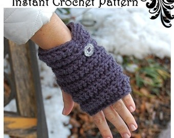 CROCHET PATTERN -Easy Fingerless Gloves -2 Ways