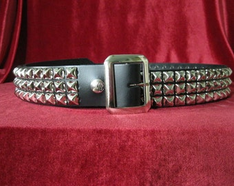 Black Leather Three Row Pyramid Belt from Ape Leather