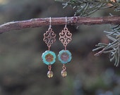 Flower Earrings, chandelier, aqua, dangle earrings, boho
