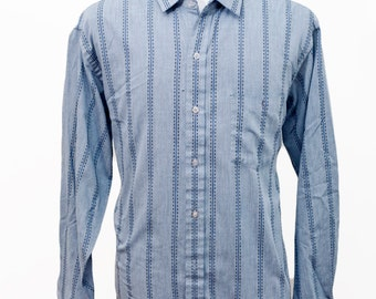 Men's Summer Shirt / Blue Striped Oxford / Knightsbridge / Size Large