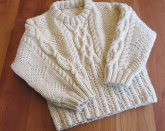 Handknit Fisherman Sweater Boys Girls size 6, Cream Wool, Irish Aran Design