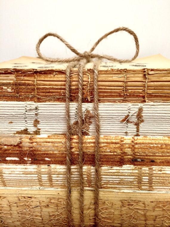 Wedding Centerpiece, Bookshelf Decor, Home Decor Trend, Repurpose book, Old Book Decoration, Uncovered Book Bundle, Urban, Stacked Books
