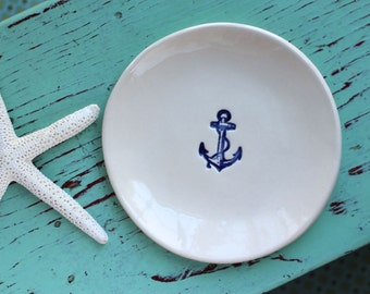 Nautical Ring Dish, Small Dish with Navy Blue Anchor, Navy Blue Anchor Jewelry Dish, Trinket Dish with Navy Blue Anchor