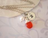 Personalized Initial Necklace, Birthstone Necklace, Orange Gemstone, Sterling Silver Necklace, Gemsone Necklace, Monogram Charm