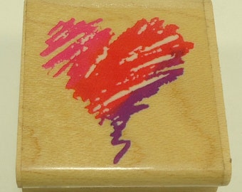 Squiggle Heart Wood Mounted Rubber Stamp by Stampendous
