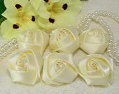 New! 6pcs Handmade satin fabric rose--ivory (FB1028)