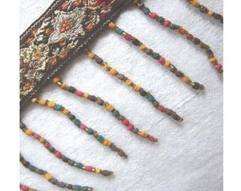 On Sale - Vintage Woven JACQUARD Ribbon w/ GOLD Gilt - Wood BEADED Fringe