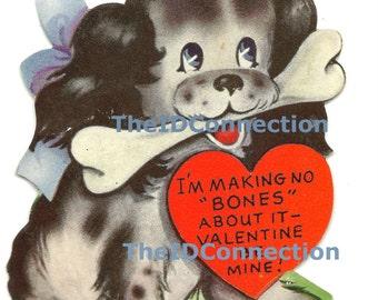 Vintage Valentine Digital Download, Puppy, Dog Bone, I'm making NO bones About it - Be My Valentine, Woof