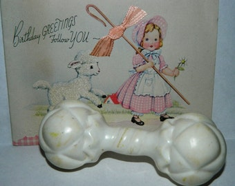 Vintage Sanitoy Infant Baby Rattle, Baby Toy, White Plastic Infant Toy, Circa 1950's Baby Rattle Crib Toy