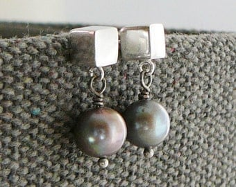 Freshwater Pearl Earrings, Sterling Silver, Square Box Cube Geometric Charcoal Grey Bridal Jewelry, Delicate