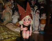 Rare Kweenie Vintage Paper Mache Carnival Kewpie Doll Partially Restored