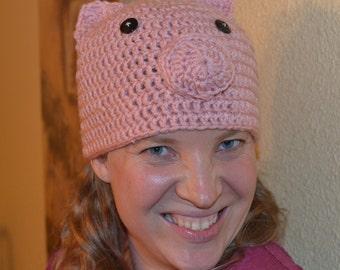 Crochet PATTERN Pig Hat