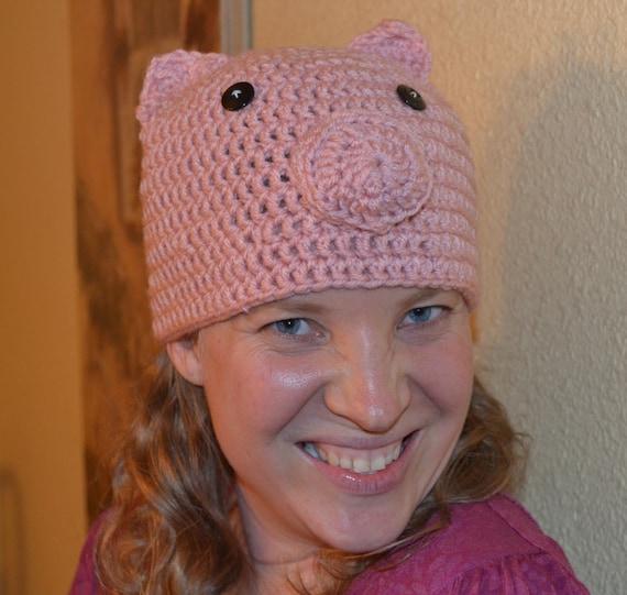 Crochet Pattern Pig Hat : Crochet PATTERN Pig Hat
