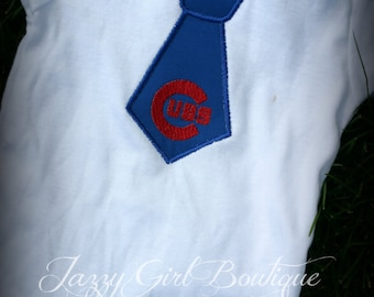 Cubs Baseball Inspired Tie Shirt  12mo, 18mo, 2, 3 and 4 Short Sleeve, Onesies also Available