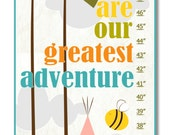 Children's Growth Chart / Ruler / Measure - Personalized You Are Our Greatest Adventure Pink -  Growth Chart