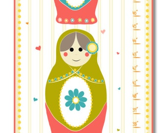 Children's Growth Chart - Nursery Art - Nesting Dolls Personalized with Child's Name Pink Growth Chart
