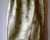 Vintage Wiggle Skirt - Gold Satin with Asian Motif - Absolutely Stunning - Hong Kong - C. 1960s