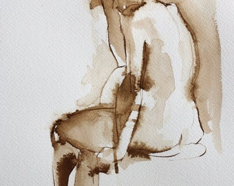 Female Nude Seated - Original Ink Figure Drawing
