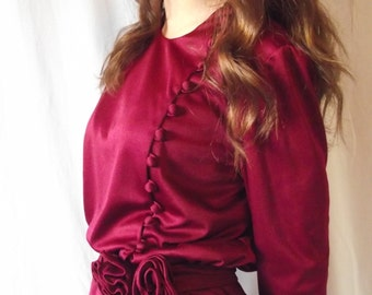Vintage Formal Dress - Emma Domb - Cranberry Red c. 1970s - Feminine and Romantic Knit Long Sleeve Holiday Dress