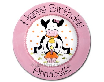 11 inch Personalized Birthday Plate - Birthday Cow Design