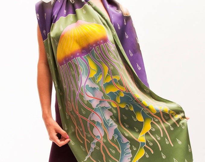 Silk Scarf Handpainted, Jellyfish scarf, Aztec scarf, Batik Painted, Scarf Hand made, Beautiful scarf, Colorful scarf, luxury scarves