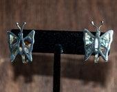 Sterling Silver Alpaca Butterfly Mother of Pearl Clip Earrings