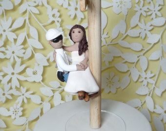 Lineman wedding cake topper with electric pole