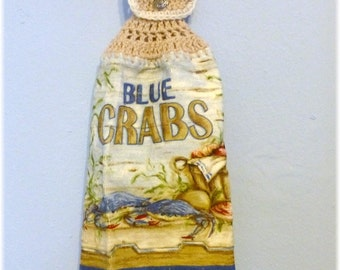 Hanging Kitchen Towel Blue Crabs