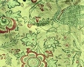 Vintage JACOBEAN Greef Beaucaire Cotton Decorator Fabric PEACOCKS Green