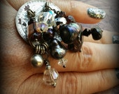 Pearl and Gemstone Cascade II - Kuchi Tribe Altered Adjustable Ring