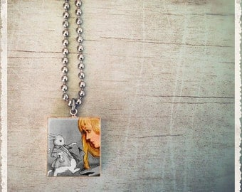 Scrabble Game Tile Jewelry - Alice And The White Rabbit In Wonderland - Scrabble Necklace