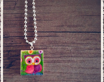 Scrabble Tile Art Pendant - Oh Happy Day Owl - Scrabble Jewelry Charm - Customize