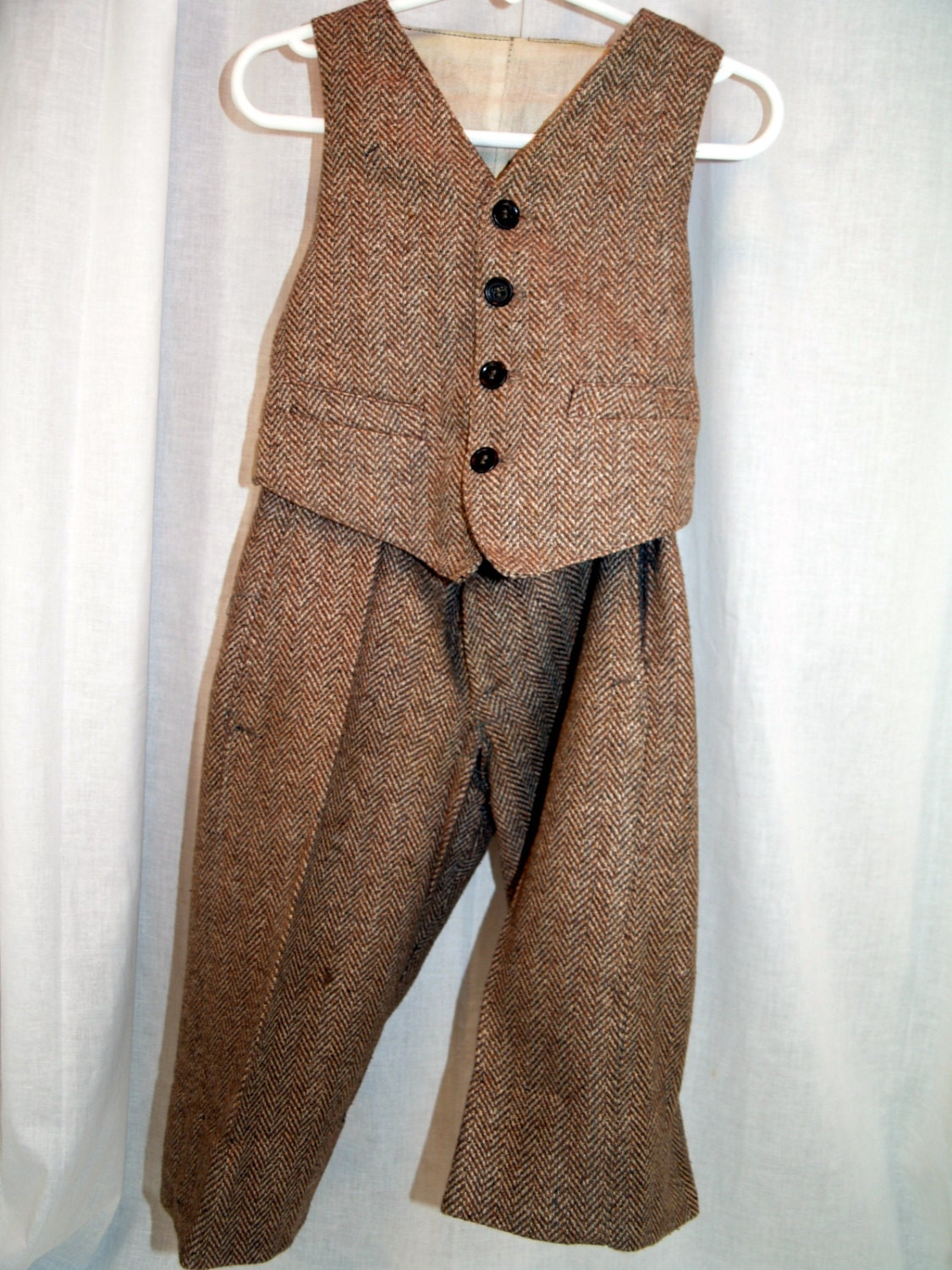 Antique boys winter wool tweed suit vest and knickers