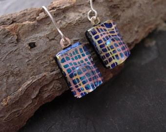 Handmade Dichroic Glass Jewelry Dangle Earrings. 1 1/2 in. Dk blue n Orange with Sterling. E-53
