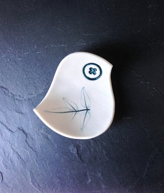 Porcelain bird bowl with real jasmine leaf imprint wing White & teal Ring dish Modern retro design Unique handmade English porcelain