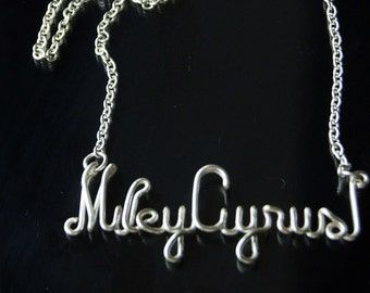 Miley Cyrus Necklace, Silver Plated, Customizable, Wire Name, Wire Word