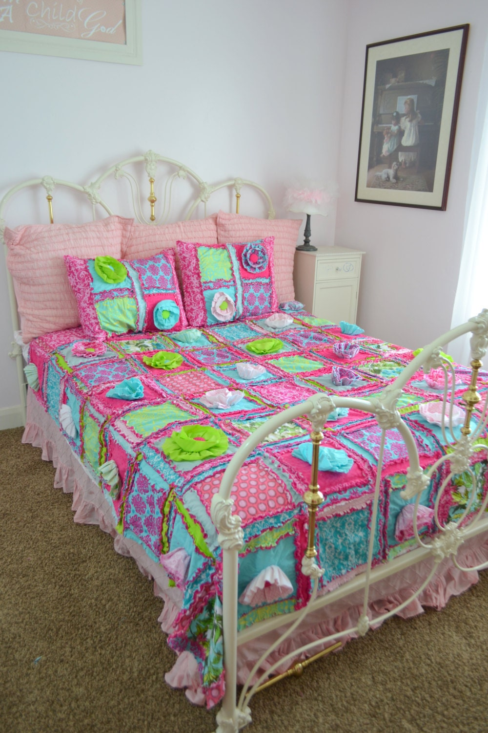 New Ruffle Flower Rag Quilt in Turquoise and PInk in Multiple Sizes PLUS Pillow Shams
