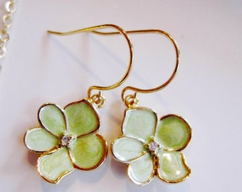 Green Flower Earrings, Lotus Blossom, Dainty Earring, Flower Charm, Jewelry Set, Bridesmaid Jewelry, Small Earrings, Gardendiva