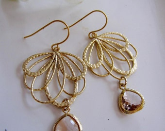 Blush Champagne Teardrop Earrings, Peach Chandelier Hoops, Wedding Jewelry, Gardendiva