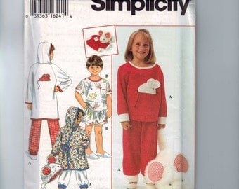 Girls Sewing Pattern Simplicity 9292 Kids Boys Girls Sleepwear Pajamas Pajama Bag Size 5 6 6X Breast 24 25 25 1/2 UNCUT 1994  99