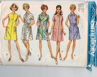 1960s Vintage Sewing Pattern Simplicity 8285 Misses Shift Dress Plus Half Size 18 1/2 or 20 1/2 Bust 41 or 43 1969 60s
