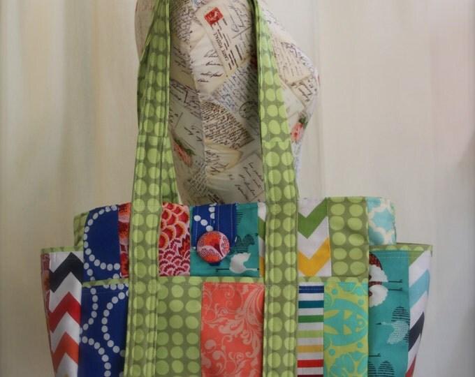 Ultimate Big Multicolored Patchwork Teacher Tote Bag