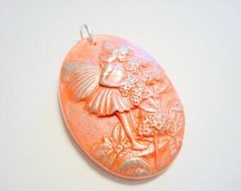 Orange and Silver Garden Fairy Handmade Polymer Clay Pendant
