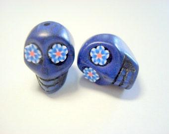 Fun Flower Eyes in Cobalt Blue Howlite 18mm Sugar Skull Beads