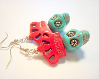 Red Crowned Turquoise Sugar Skull Day of the Dead Earrings