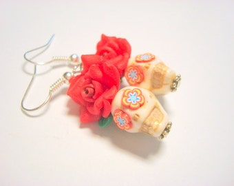 Roses are Red Day of the Dead Sugar Skull Earrings Small