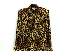 Silk Leopard Blouse // Eighties // 80's // Career Dressing // FALL 2014 TRENDS
