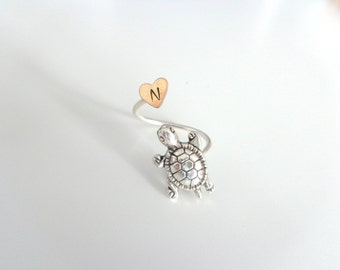 Silver turtle initial ring, animal ring, silver ring, statement ring