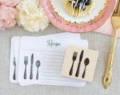Silverware Rubber Stamp - Fork Knife Spoon - Handcrafted Wood Mounted - Great 4 dinner party wedding place cards chow down menu recipe -
