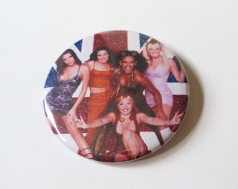 Spice Girls Union Jack Button OR Magnet -- 2.25 inch